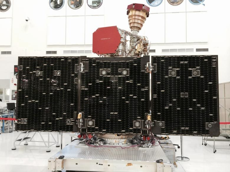 Photo of SMAP solar panel arrays unfolded.