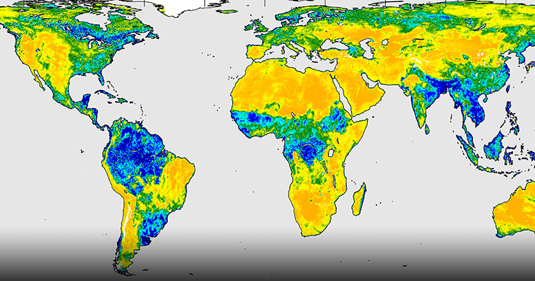 A three-day composite global map of surface soil moisture as retrieved from SMAP's radiometer instrument between Aug. 25-27, 2015.