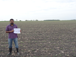 Narendra on the soybean field #123. We should see a big difference in a few weeks!