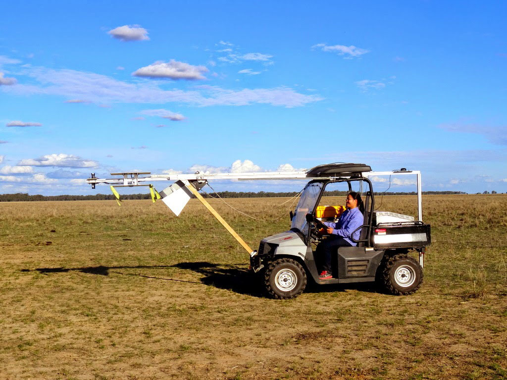 The team members' buggy carries an ELBARA III radiometer, a GNSS-R reflectometer known as LARGO, as well as multi-spectral sensors. Photo by Muhsiul Hassan, Monash University, Australia