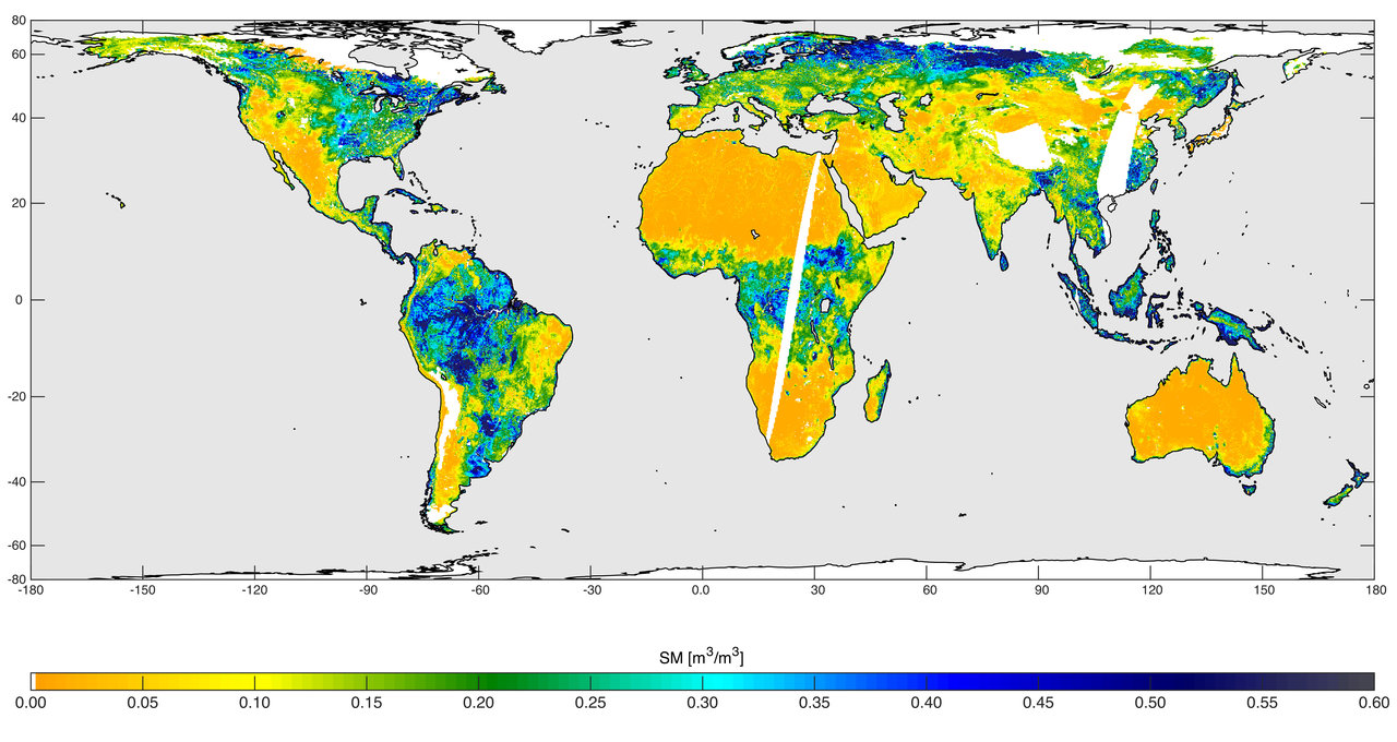 High-resolution global soil moisture map from SMAP's combined radar and radiometer instruments, acquired between May 4 and May 11, 2015, during SMAP's commissioning phase. The map has a resolution of 5.6 miles (9 kilometers). The data gap is due to turning the instruments on and off during testing.