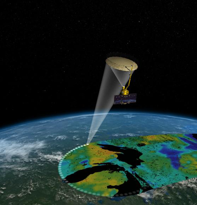 Artist's rendering of the Soil Moisture Active Passive (SMAP) satellite. The width of the region scanned on Earth's surface during each orbit is about 620 miles (1,000 kilometers). Credit: NASA/JPL-Caltech