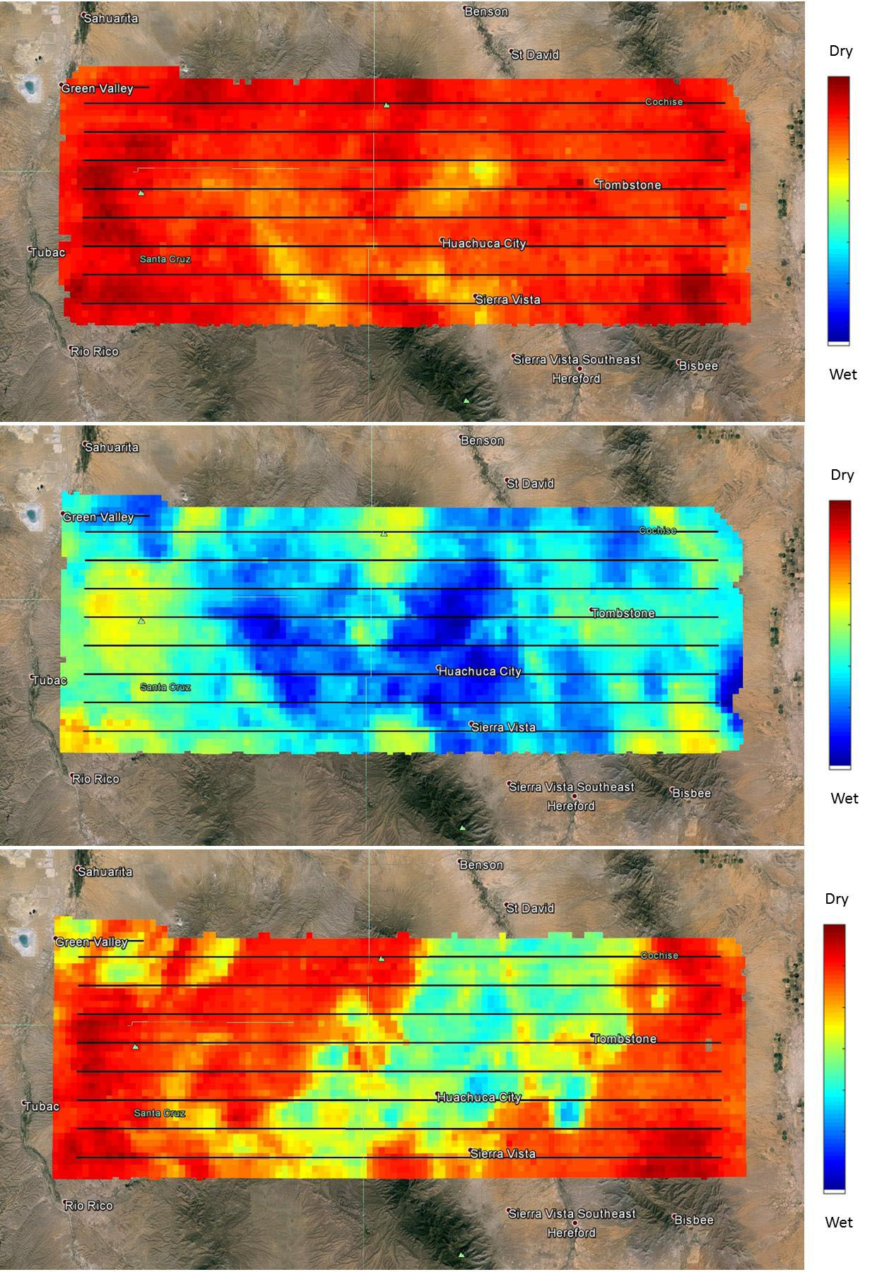 NASA's SMAP (Soil Moisture Active Passive) satellite observatory conducted a field experiment as part of its soil moisture data product validation program in southern Arizona on Aug. 2-18, 2015. Credit: NASA/JPL-Caltech