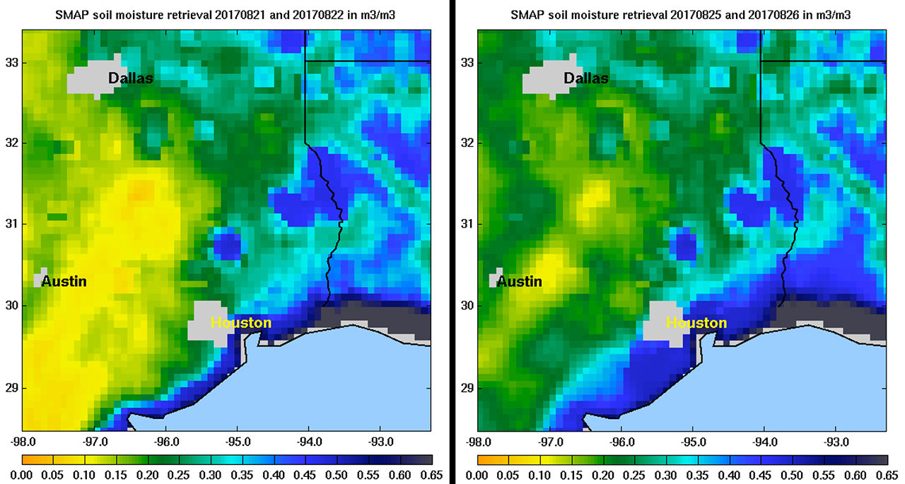 Soil moisture conditions in Texas near Houston, generated by NASA's Soil Moisture Active Passive (SMAP) satellite before and after the landfall of Hurricane Harvey can be used to monitor changing ground conditions due to Harvey's rainfall.