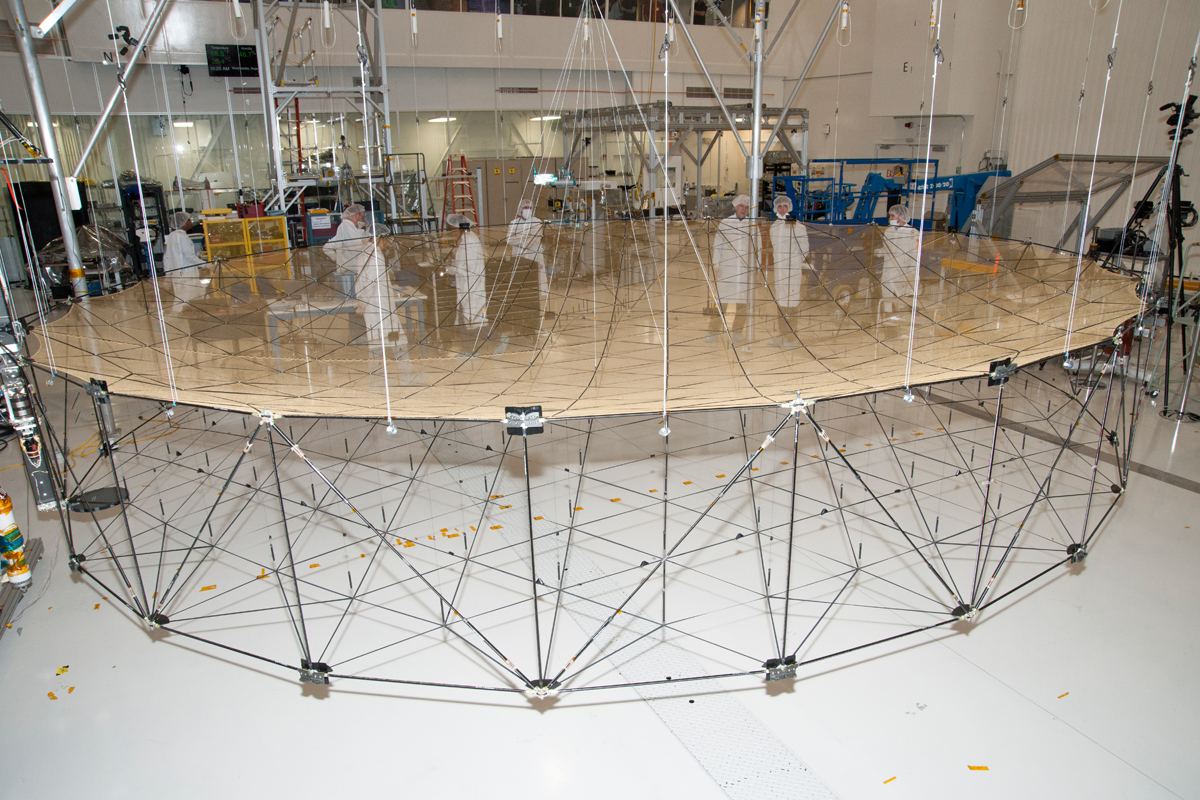 SMAP's antenna is fully unfurled during a ground test.