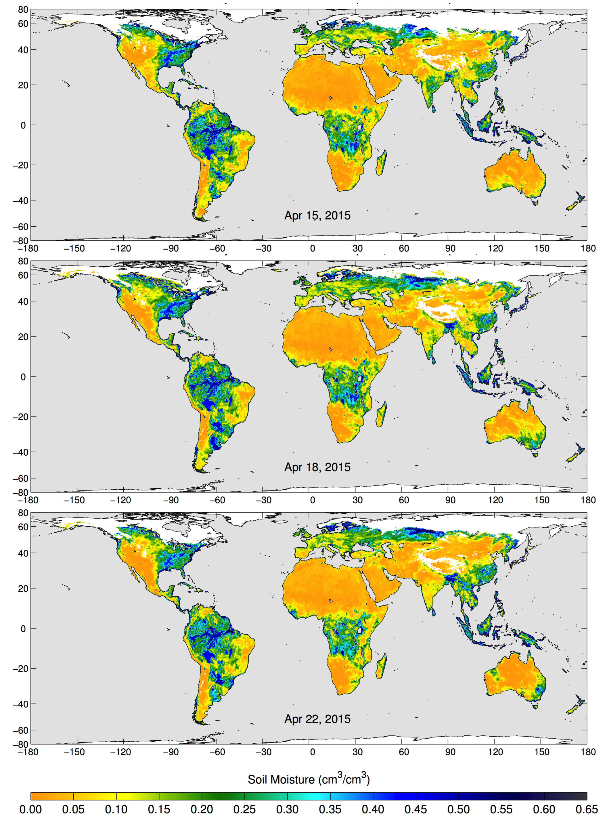 SMAP\'s Radiometer Captures Views of Global Soil Moisture : SMAP