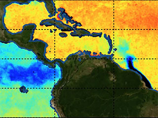 Freshwater is seen entering the Atlantic from the Amazon in a data image from SMAP. Dark blue indicates less salinity.||Sea surface salinity based on data from NASA's Soil Moisture Active Passive (SMAP) mission.